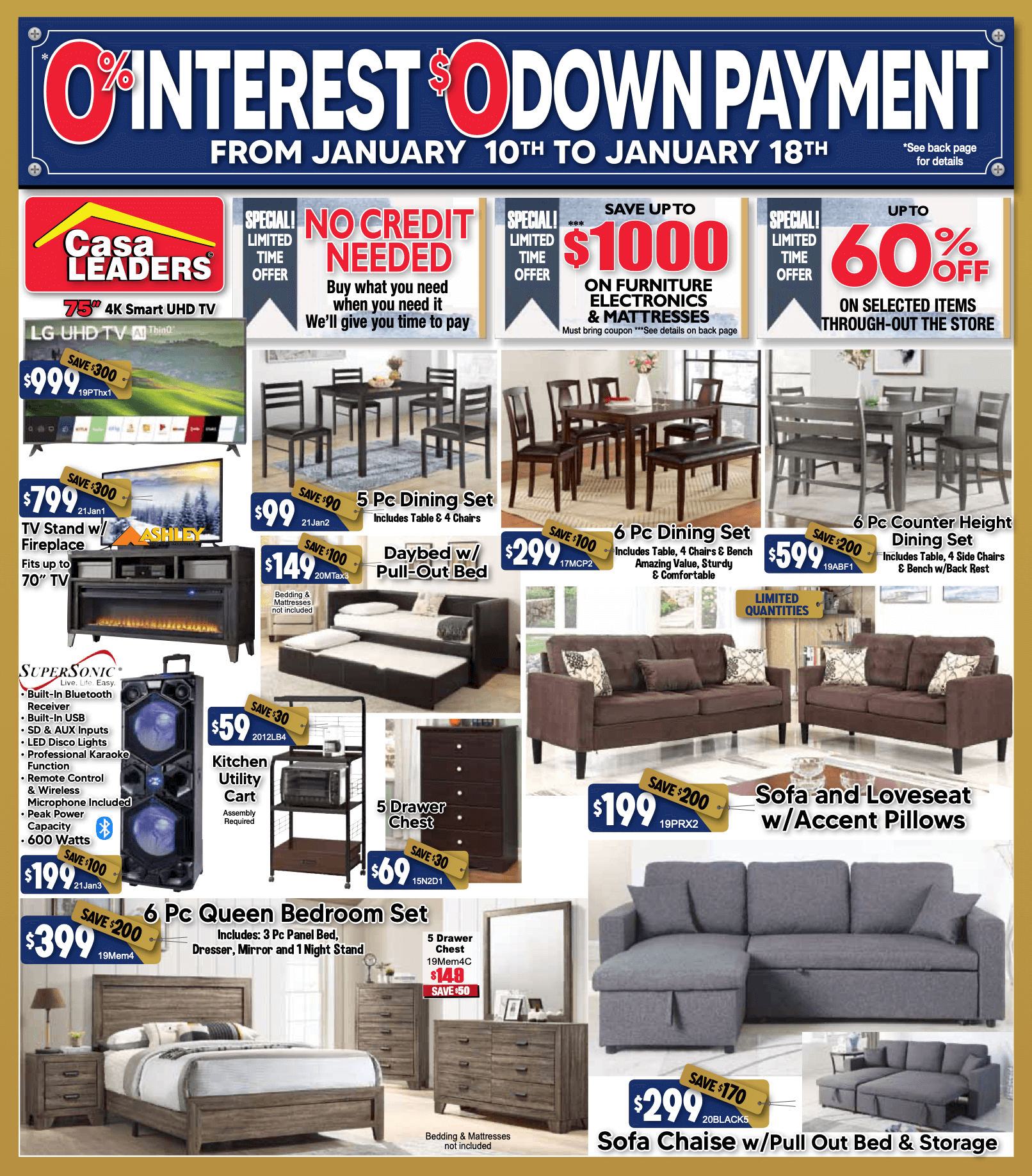 0% Interest and Downpayment Sale ad flyer