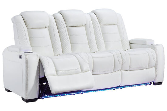 Party Time White Sofa Recliner cup lights side profile on by Ashley product image
