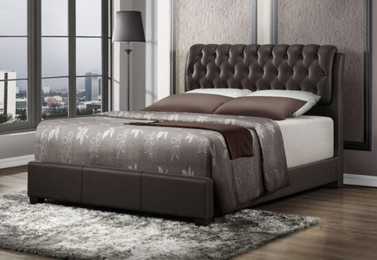 Leatherette Queen Bed by Casa Blanca Furniture product image in brown