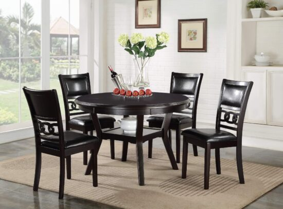 Gia Ebony 5 piece round table dining set by New Classic furniture product image