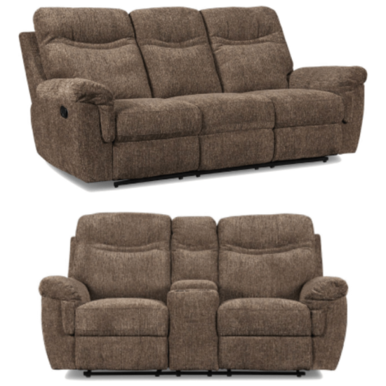Sheffield Latte Dual Power Reclining Sofa and Loveseat Set By New Classic product image