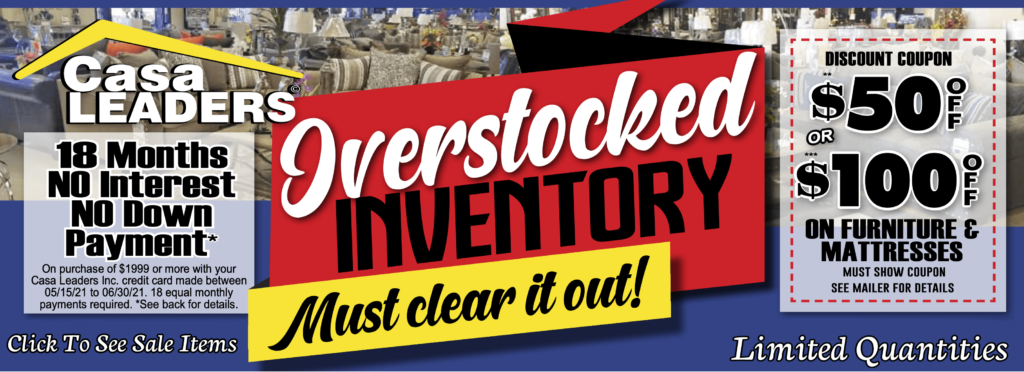 Overstocked inventory Sale mailer image