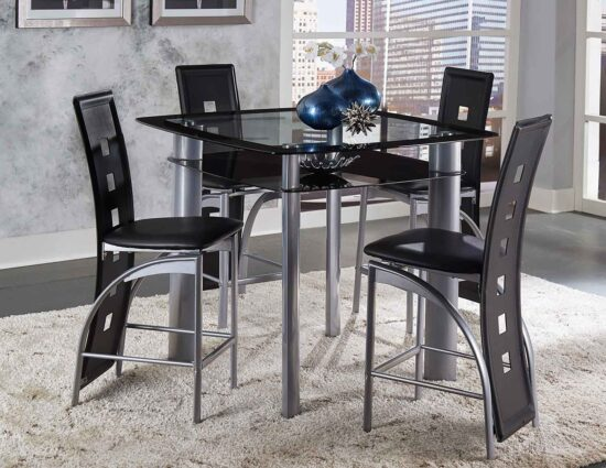 Sona Black 5 Piece Counter Height Dining Set By Home Elegance product image
