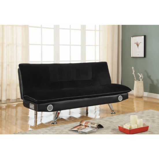 lack leatherette Sofa Bed with bluetooth Speakers by coaster product image