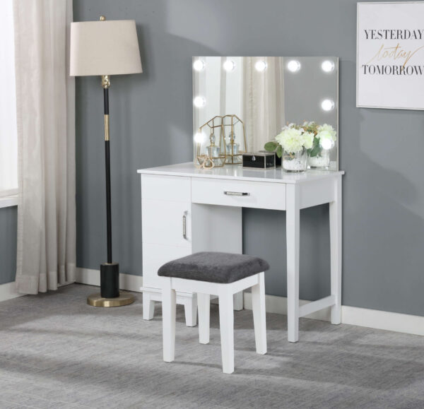 931149 Coaster Vanity Set With LED Lights White And Dark Grey product image with stool included