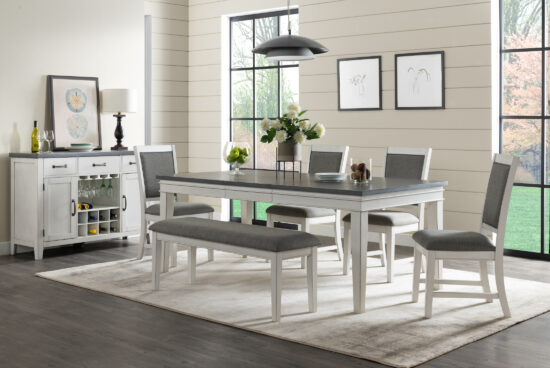 Del Mar Dining Table 6 Piece Lifestyle with Server by martin Svensson product image with a white base and grey table top and grey upholstered seats. Wine rack on the server with 3 drawers and 2 cabinets.