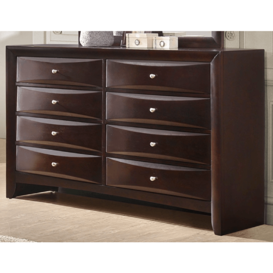 Emily Storage bedroom set Dresser with 8 drawers in dark cherry finish product image silver knobs