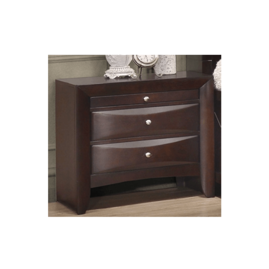 Emily Storage bedroom set nighstand product image with 3 drawers the first of which is a pull out writing drawer in a dark cherry wood finish.
