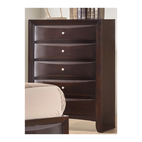 Emily Storage bedroom set chest with 5 drawers and silver knobs in a dark cherry wood finish.