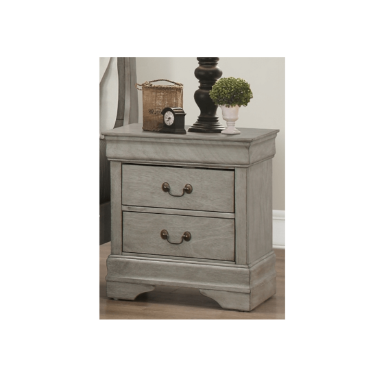 Grey Louis Philip nightstand by Crown Mark product image with 2 drawers