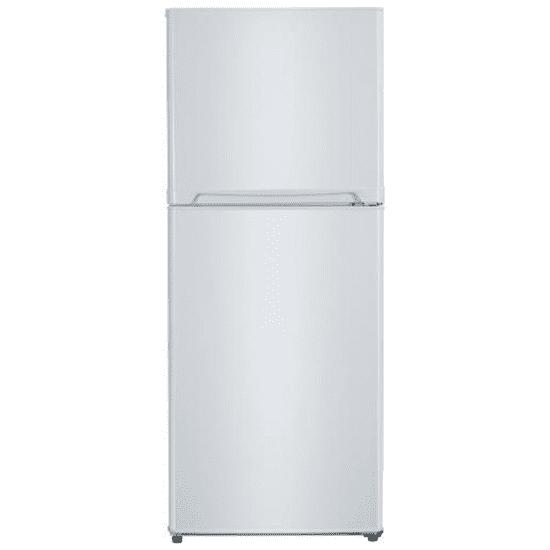 Avanti FF10B0W 10 Cu Ft Top Freezer Frost Free Refrigerator White closed, no exterior handle.