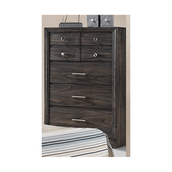 B6580 Jaymes Chest by crown mark with 5 drawers and in dark brown finish product image silver knobs