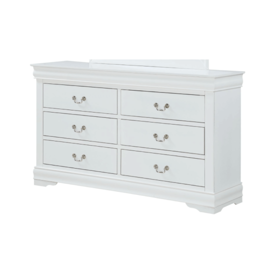 Crown Mark 3650 Louis Philip in White Dresser with silver handles , 6 drawers and white wood finish product image