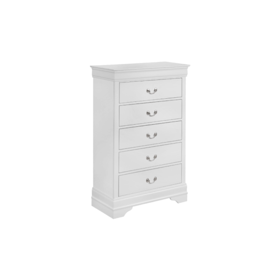 Crown Mark 3650 louis phiulip in white chest with 5 drawers and silver handles product image