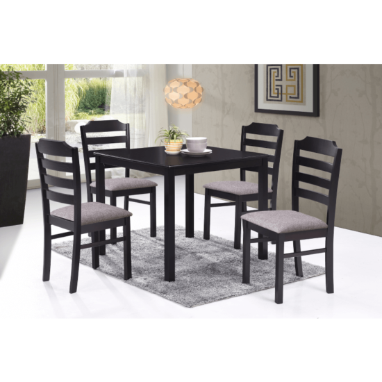 Vista 5 Pc. Dining Set by casa blanca furniture product image with a square table, upholstered beige seats and in an espresso finish.