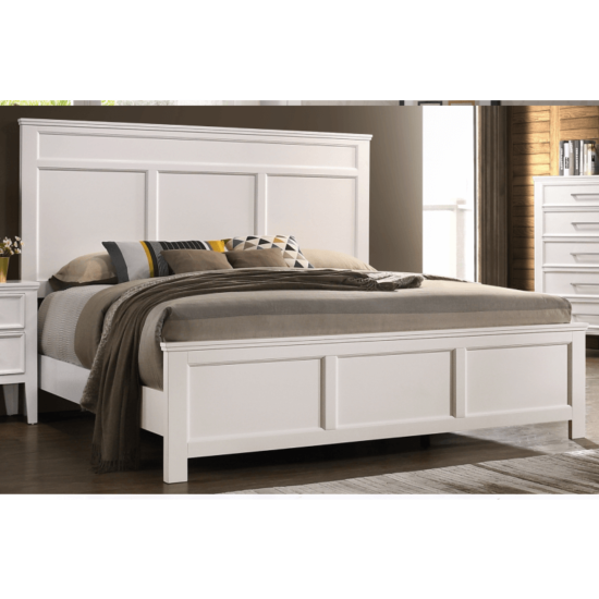 Andover Bed by crown mark with white wood paneling on the headboard and footboard