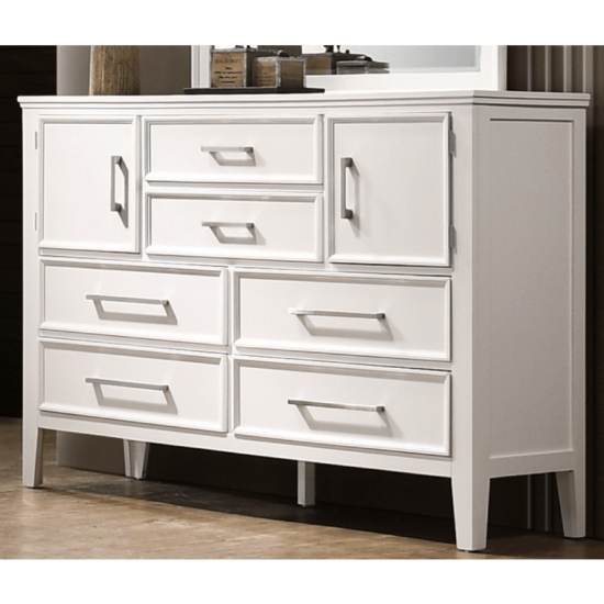 Andover Dresser by crown mark product image. it has 6 drawes and 2 cabinets in a white wood finish and silver knobs