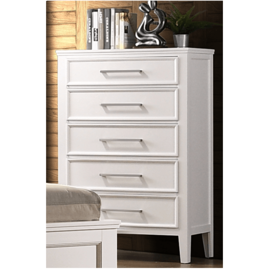 Andover Mirror by crown mark with 6 drawers in a white wood finish and silver handles