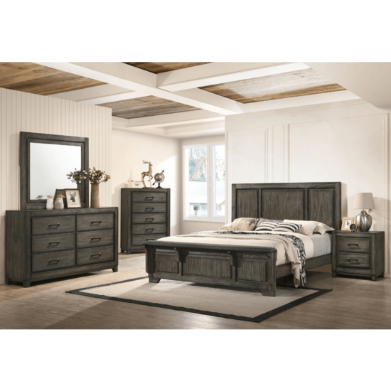 Ashland Bedroom Set By New Classic Furniture product image with dresser, mirror, bed and 1 nightstand in darkwood paneling, seat bench on footboard.