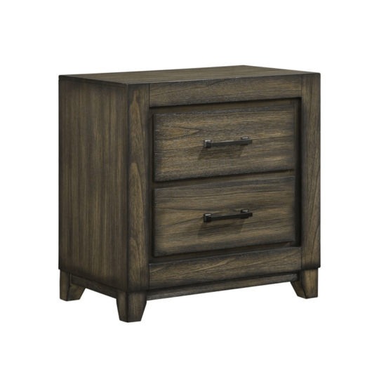 Ashland Nightstand By New Classic Furniture with 2 draqwers in dark wood finish and brown handles product image