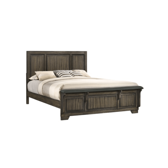 Ashland Bed By New Classic Furniture with dark wood paneling on the headboard and footboard as well as a bench on the footboard product image