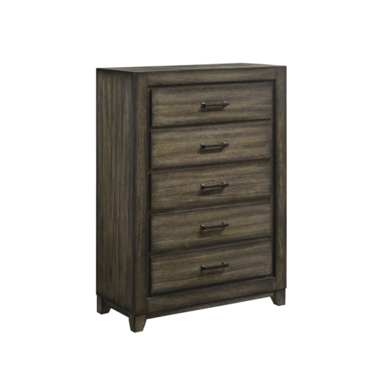 Ashland Chest By New Classic Furniture product image with 5 drawers and brown handles product image