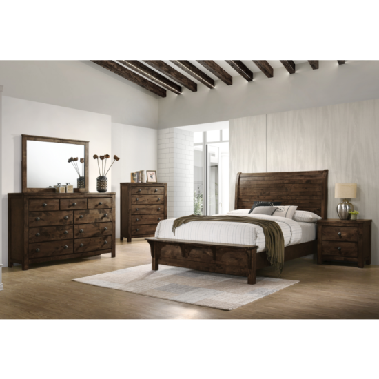 Blue Ridge bedroom set by new classic furniture in a rustic grey wood paneling that looks brown and a bench built into the footboard