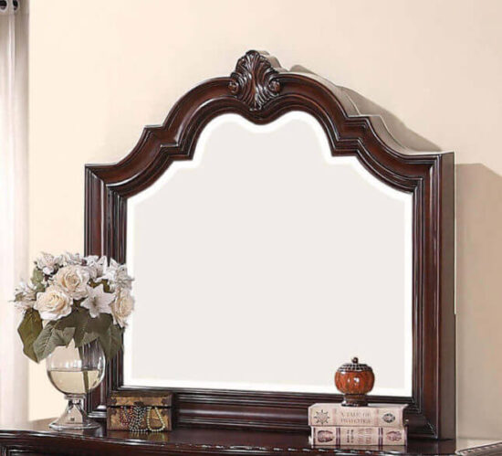 cro1100 Sheffield Mirror product image in wood with embroidery