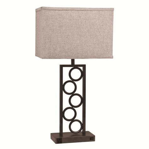 Stacked Circles lamp by Crown mark product image: This beautiful lamp has a copper finish and a beige shade and features5 circles throughout the body.