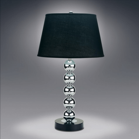 Crystal Table Lamp in Black by Crown Mark product image The Crystal Table Lamp in Black by Crown mark features a round neck structure with balls stacked on top to make up the neck.